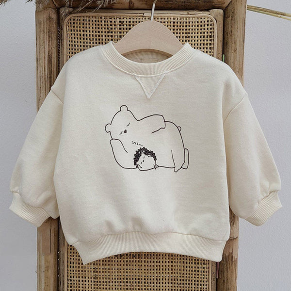 Baby Boys Cartoon Bear Printed Long Sleeve Top Baby Clothing Cheap Wholesale