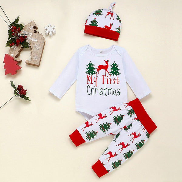Baby Boys Christmas Reindeer Printed Romper & Pants Hat Baby Wholesale