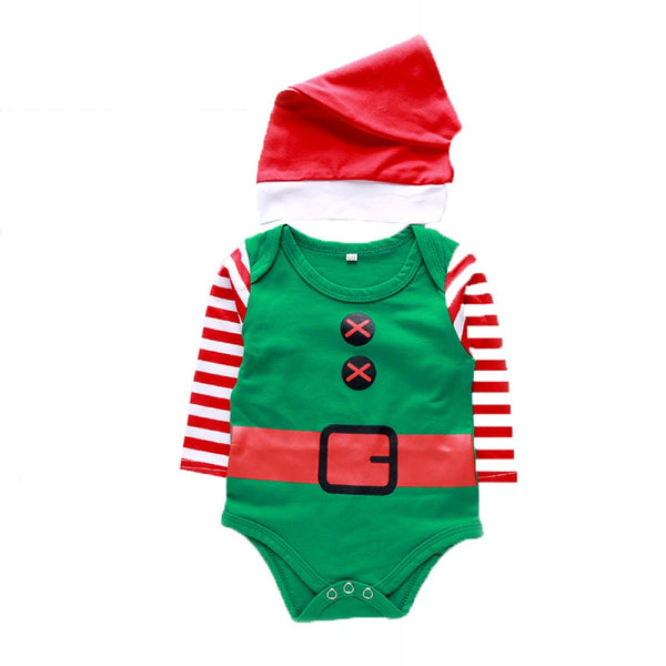 Baby Boys Christmas Striped Sleeve Romper & Hat Baby Wholesales