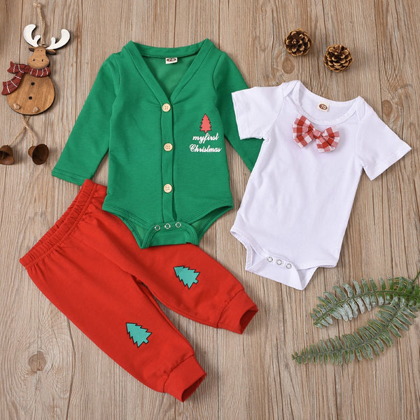 Baby Boys Christmas Tree Printed Romper & Pants Baby Clothes Vendors
