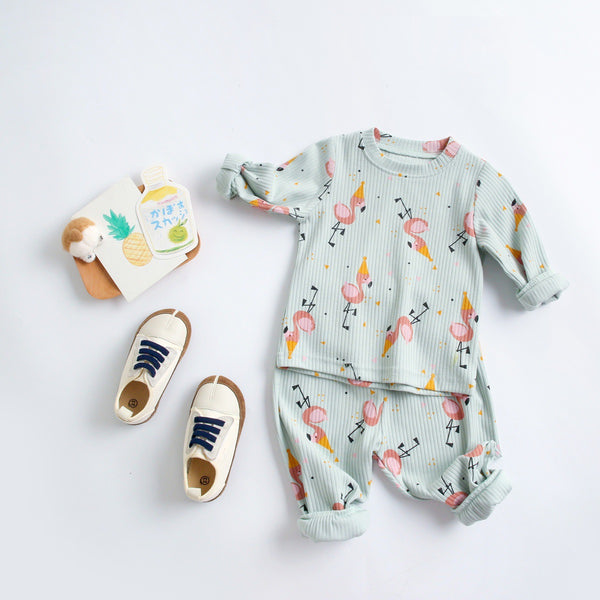 Baby Boys Flamingo Printed Top & Pants Kids Clothing Suppliers