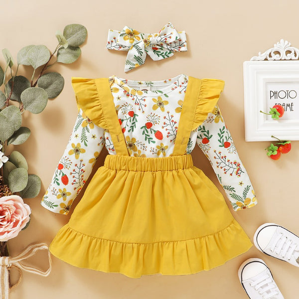 Baby Girls Flower Printed Romper & Dress & Headband Wholesale Girls Clothing