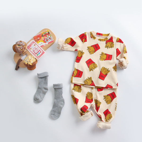 Baby Boys French fries Printed Top & Pants Wholesale Clothing For Children