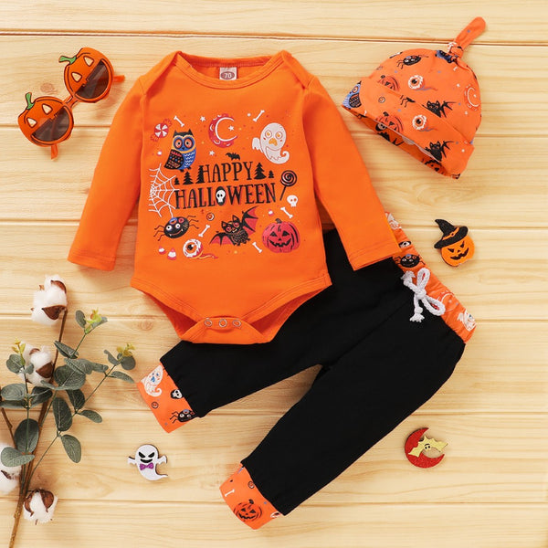 Baby Boys Halloween Leter Printed Romper & Pants & Hat Boy Clothing Wholesale