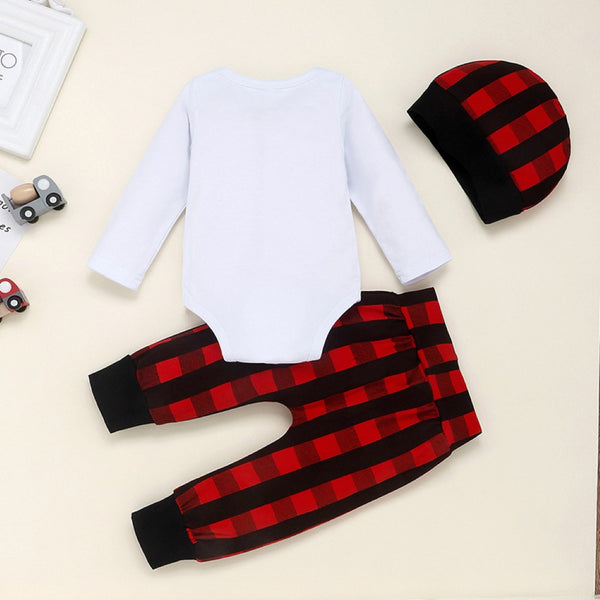 Baby Boys Letter Printed Romper & Panted & Hat Wholesale Clothing For Children