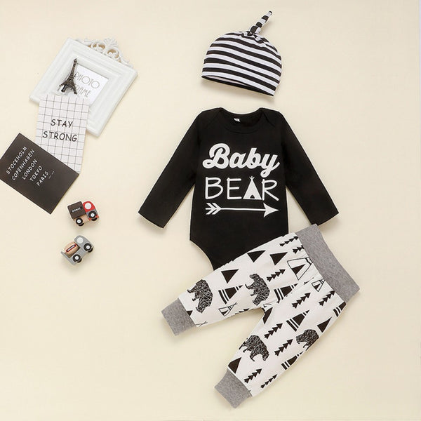 Baby Boys Letter Printed Romper & Pants & Hat Baby Clothing Cheap Wholesale