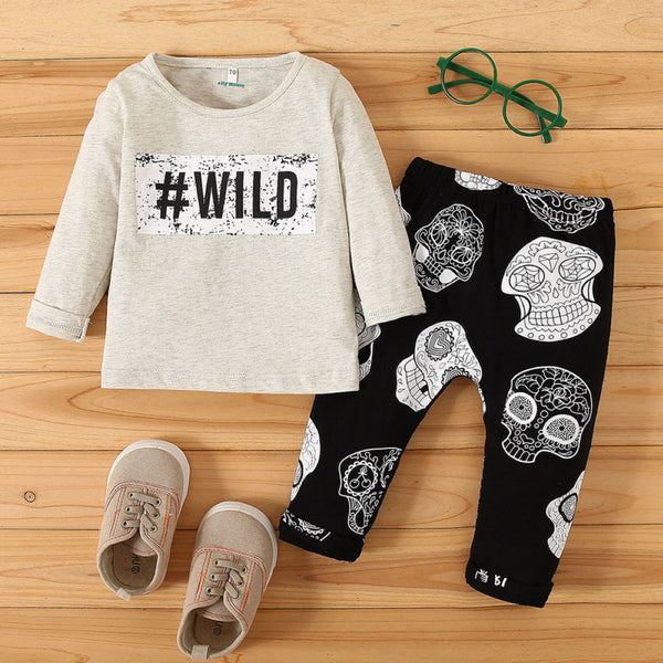 Baby Boys Letter & Skull Printed Suits Boy Clothes Wholesale