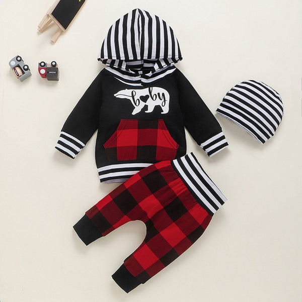 Baby Boys Polar Bear Printed Hooded Top & Pants & Hat Baby Wholesale