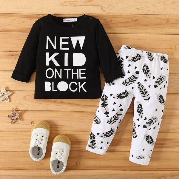 Baby Boys Round Neck Letter Printed Top & Pant Wholesale Boys Suits