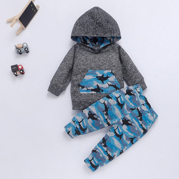 Baby Boys Shark Printed Hooded Top & Pants Kids Fashion Wholesale
