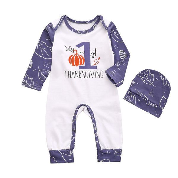 Baby Boys Thanksgiving Letter Printed Romper & Hat Baby Wholesales