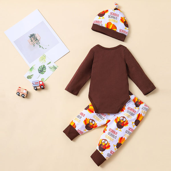 Baby Boys Thanksgiving Letter Printed Top & Pants Hat  Cheap Baby Clothes Online Wholesale