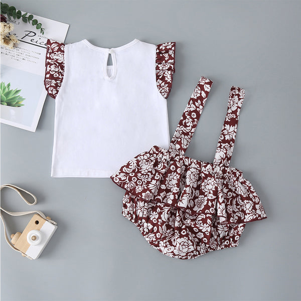 Baby Girl Clothing Summer New Girls White Contrast Color Top + Printed Suspenders Two-Piece Romper Suit Baby Girl Clothes Wholesale