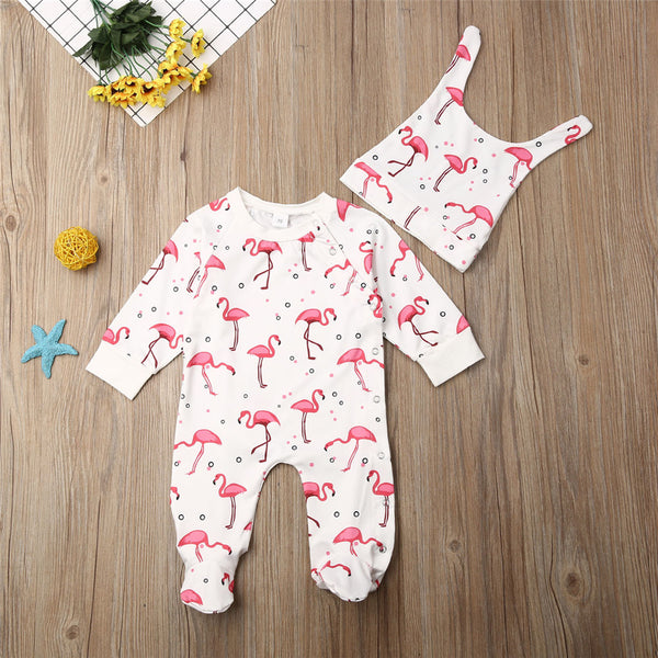 Baby Girl Cute Long Sleeve Printed Flamingo Romper&Hat Baby Clothes Cheap Wholesale