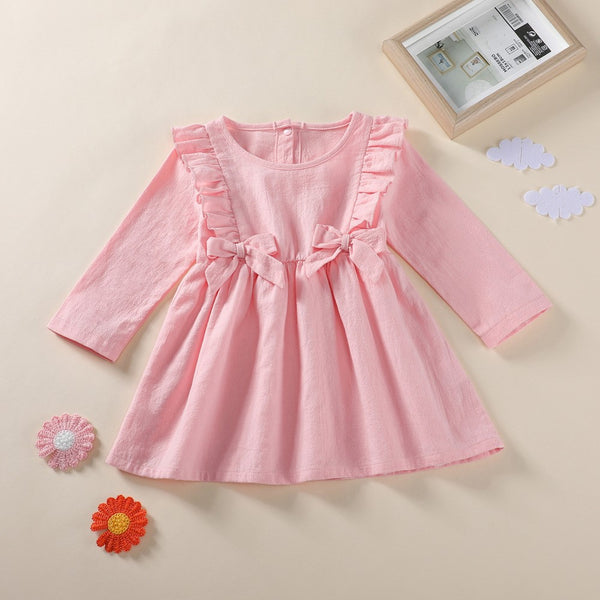 Baby Girls Bow Decor Solid Collor Dress Buy Wholesale Kids Clothing