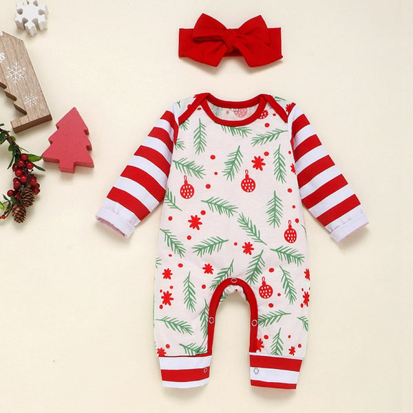 Baby Girls Christmas Leaves Printed Romper & Headband Baby Clothing Wholesale