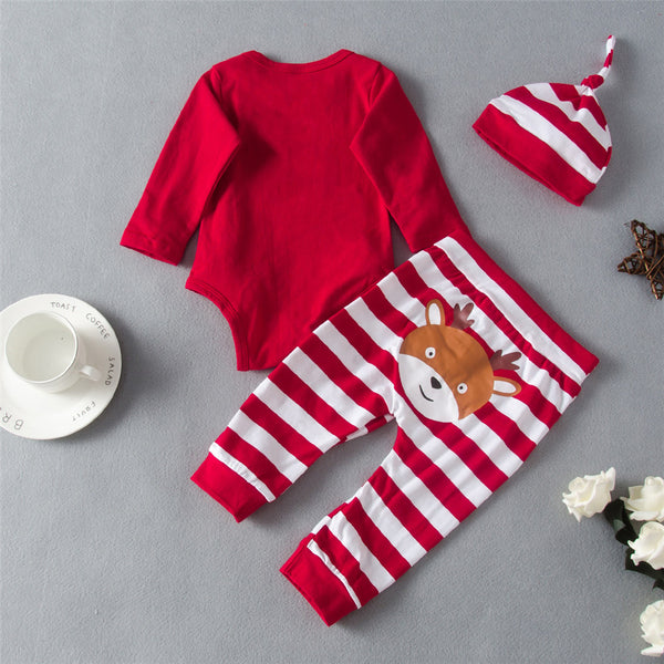Baby Girls Christmas Printed Letter Romper&Stripe Pants&Hat Baby Wholesales