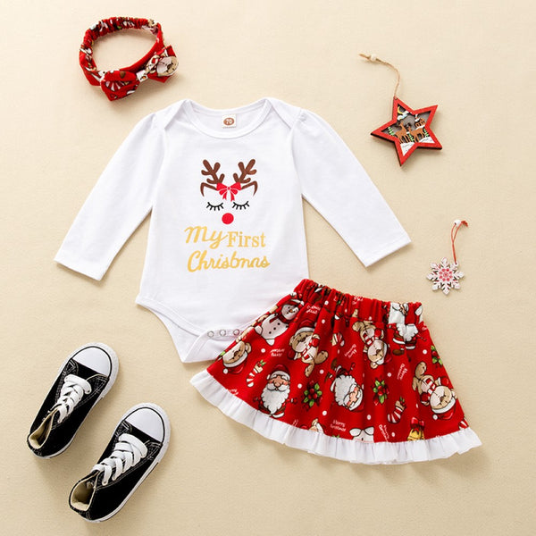 Baby Girls Christmas Romper & Skirts & Headband Buy Kids Clothing Wholesale