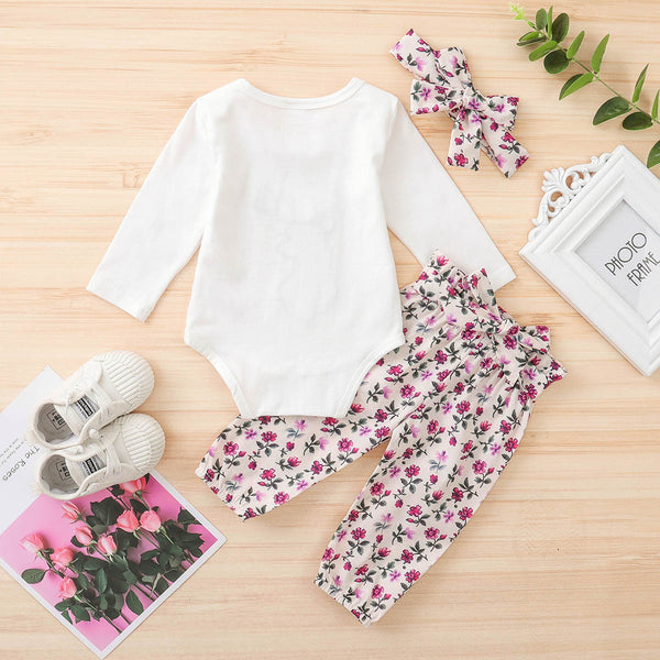 Baby Girls Deer Flower Printed Romper & Pants & Headband Baby Wholesale