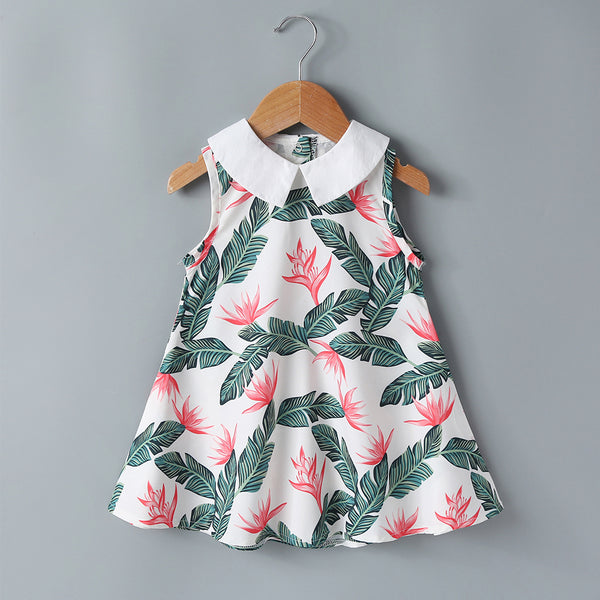 Baby Girls Dress Summer New Style Doll Collar Feather Print Dress Girl Skirt Bulk Baby Clothes For Sale