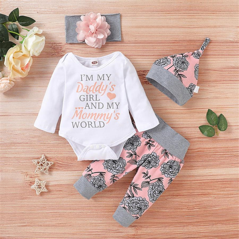 Baby Girls Floral Letter Long-sleeve Romper & Pants & Hat & Headband