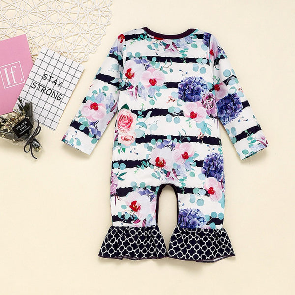 Baby Girls Floral Printed Long Sleeve Romper Wholesale Clothing Baby