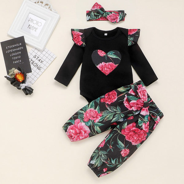Baby Girls Flower Love Printed Romper & Pants & Headband Baby Clothes Warehouse