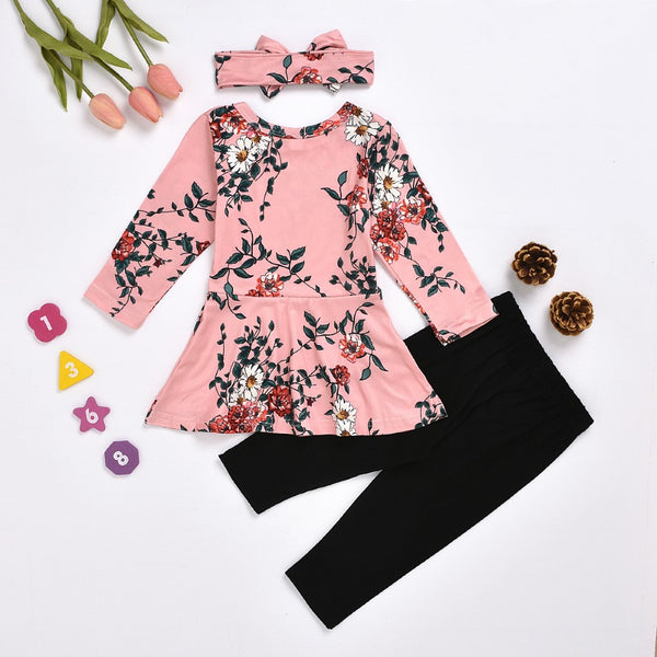 Baby Girls Flower Printed Dress & Pants & Hat Baby Wholesale Clothes