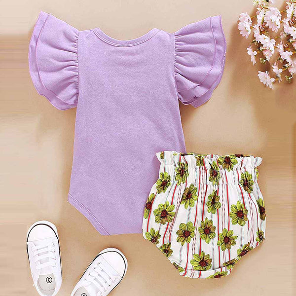 Baby Girls Flower Printed Short Sleeve Ruffled Romper & Shorts Wholesale Baby Clothes Usa