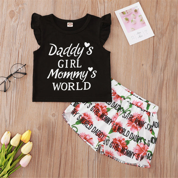 Baby Girls Flying Sleeve Daddys Girl Mommys World Printed Top & Floral Shorts