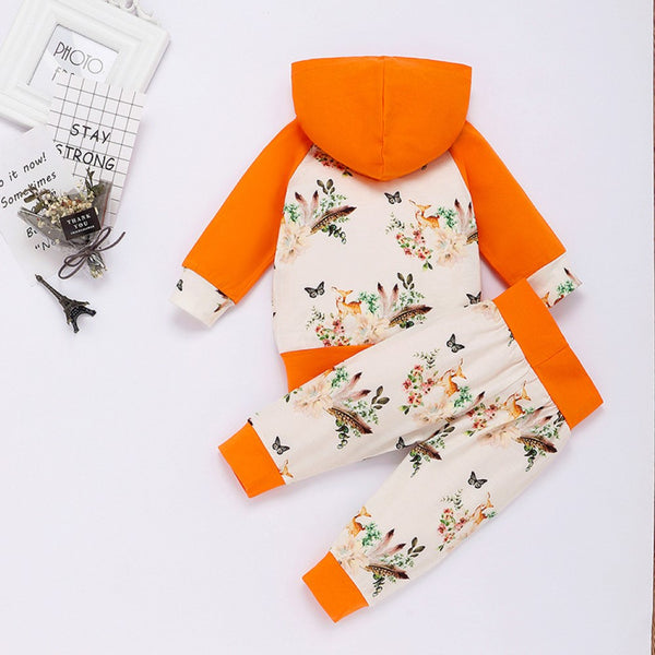 Baby Girls Foxes Printed Hooded Top & Pants Baby Clothes Suppliers