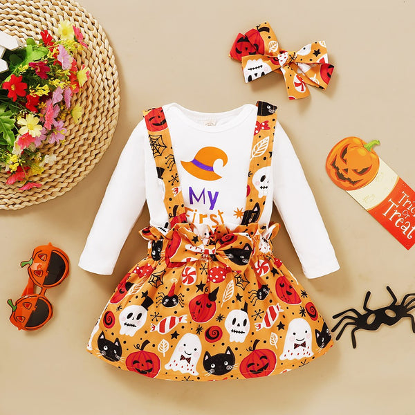 Baby Girls Halloween Letter Printed Top & Dress & Headband Baby Girl Wholesale
