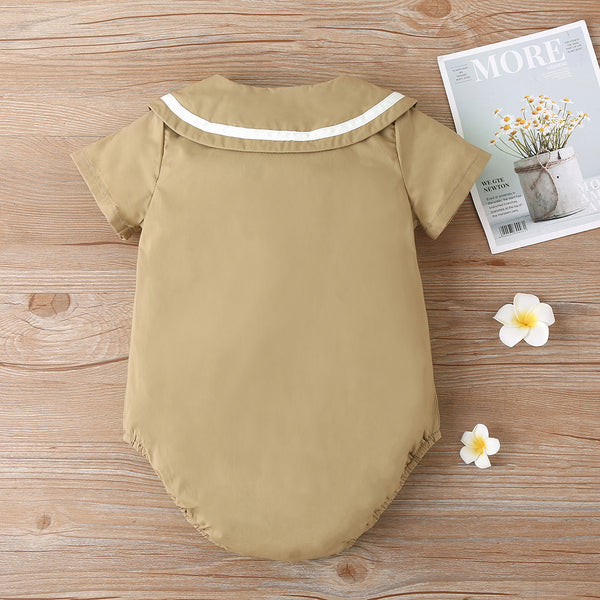 Baby Girls Khaki Short Sleeve Romper Wholesale Baby Clothes