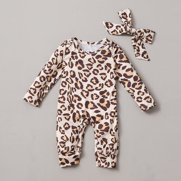 Baby Girls Leopard Printed Romper & Headband Baby Wholesale Clothes