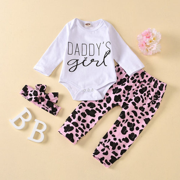 Baby Girls Letter Printed Long Sleeve Top & Pants & Headband Baby Wholesale