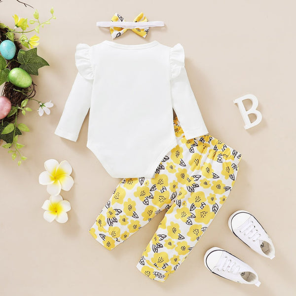 Baby Girls Letter Printed Romper & Pants & Headband Baby Wholesale Clothing