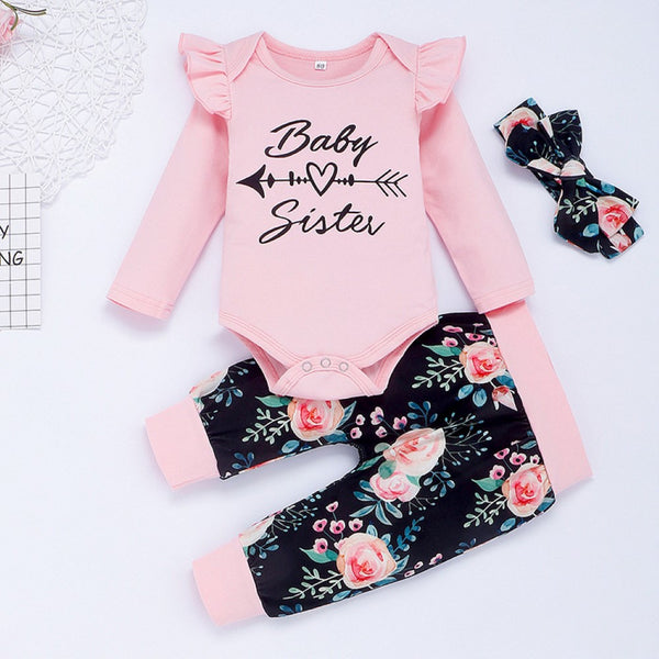 Baby Girls Letter Printed Romper & Pants & Headband Baby Wholesale