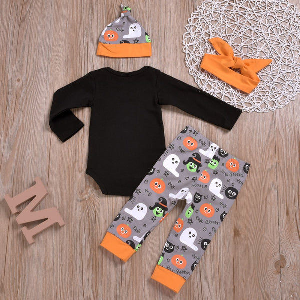 Baby Girls Letter Printed Romper & Pants & Headband & Hat Baby Wholesale