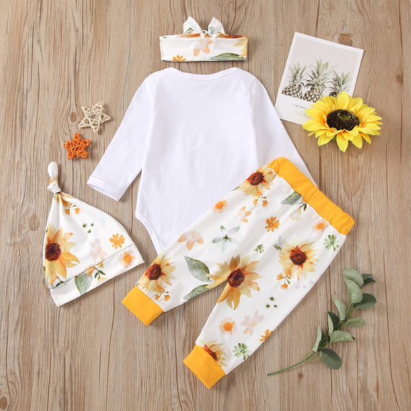 Baby Girls Letter Printed Romper & Pants & Headhand Babywear Wholesale
