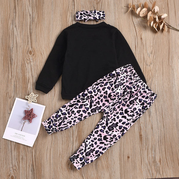 Baby Girls Letter Printed Top & Pants & Headband Baby Clothes Warehouse