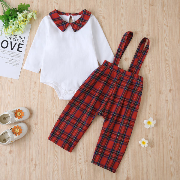 Baby Girls Long Sleeve Doll Collar Romper&Overall Pants Baby Clothes Cheap Wholesale