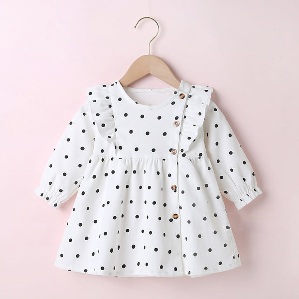 Baby Girls Long Sleeve Printed Dot Dress Toddler Wholesale Clothes