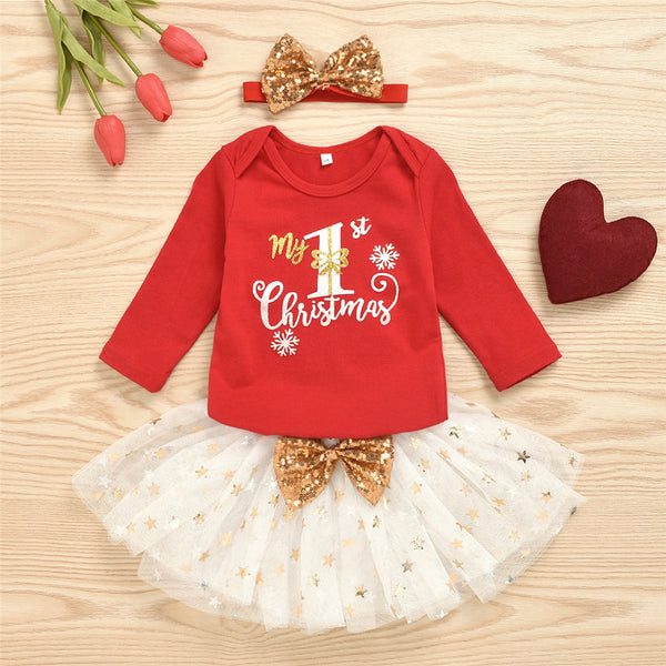 Baby Girls Long Sleeve Printed Tops&Princess Skirt&Headband Buy Baby Clothes Wholesale