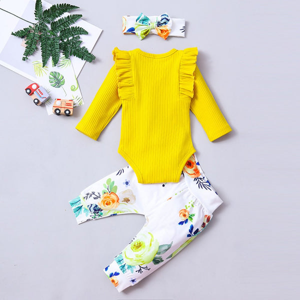 Baby Girls Long Sleeve Romper & Floral Pants & Headband Baby Wholesale