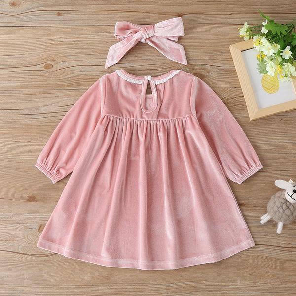 Baby Girls Long Sleeve Solid Dress&Headband Boutique Baby Clothes Wholesale