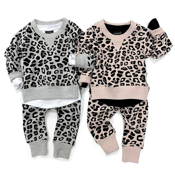Baby Girls Printed Leopard Tops&Pants Baby Boutique Clothing Wholesale