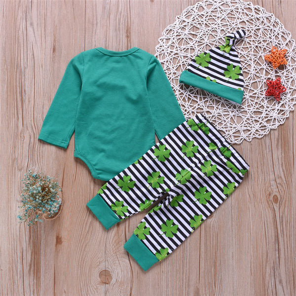 Baby Girls Printed Lucky Clover Letter Romper&Stripe Pants Baby Clothes Vendors