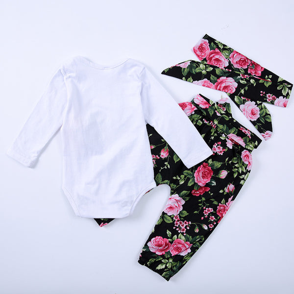 Baby Girls Printed Rabbit Romper&Floral Pants&Headband Baby Wholesale