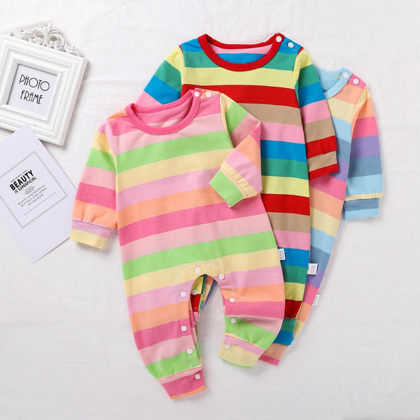 Baby Girls Rainbow Long Sleeve Romper Children Clothing Wholesale Usa