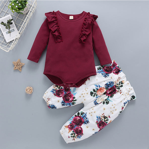 Baby Girls Round Neck Solid Tops&Floral Pants Baby Clothing Wholesale Distributors